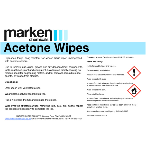 Acetone HP Wipes Label