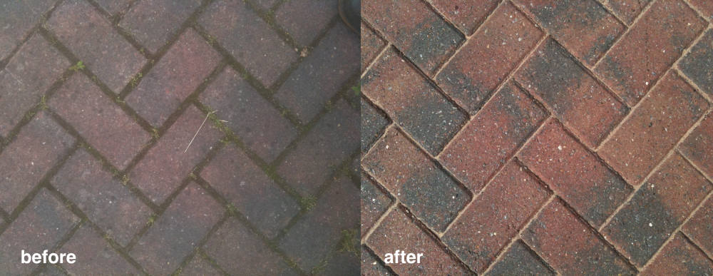 Before and after photo of blockpaving cleaning in Sheffield